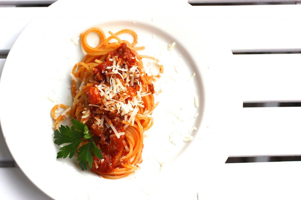 Fertig sind die Spaghetti Bolognese